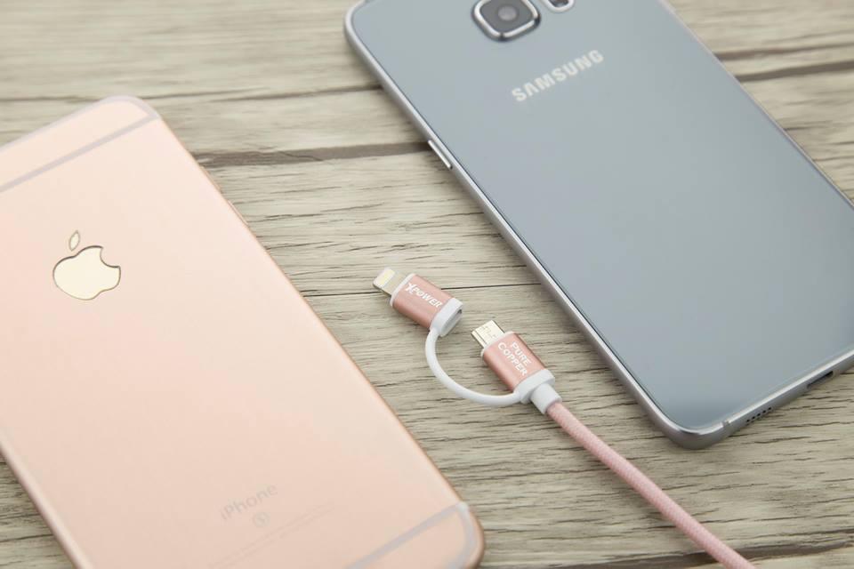 XPower 1.2m 2 in 1 MFI Lightning + Micro USB Aluminum Alloy Nylon Cable