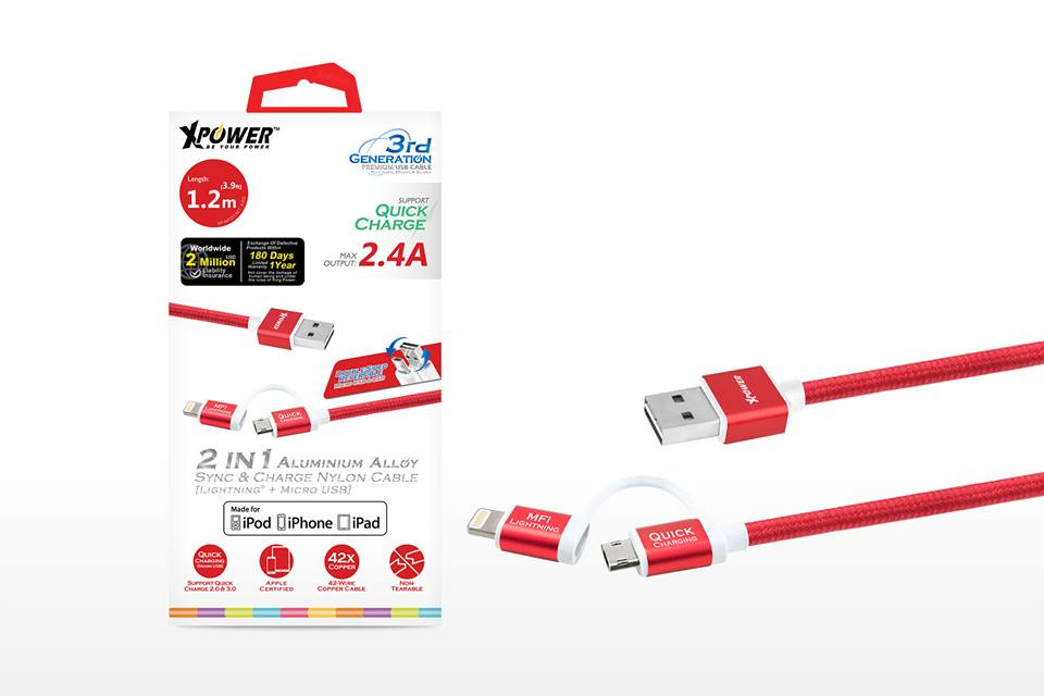 XPower 0.2m 2 in 1 MFI Lightning + Micro USB Aluminum Alloy Nylon Cable