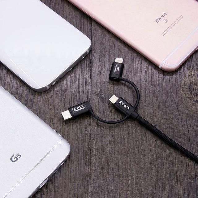 XPower 3 in 1 Type-C + Micro USB + MFI Lightning Aluminum Alloy Nylon Cable