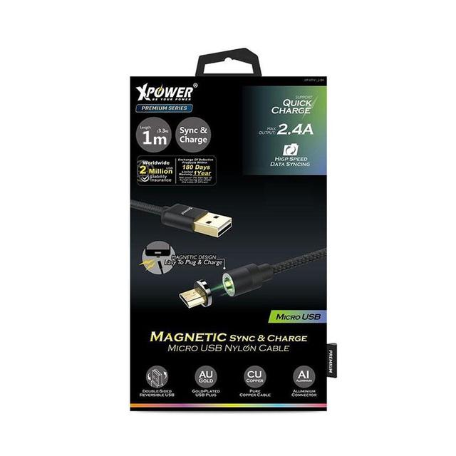 XPower 1m Magnetic Sync & Charge Micro USB Nylon Cable