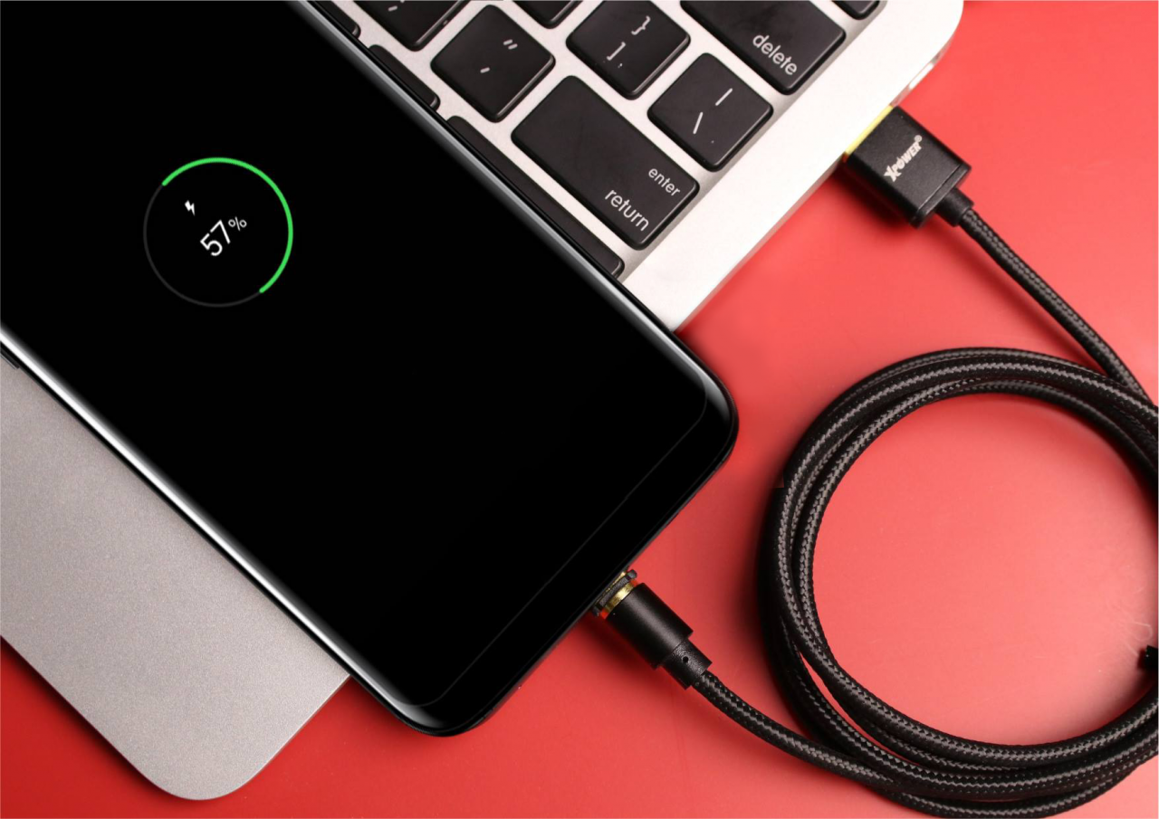 XPower 1m Magnetic Sync & Charge Type C to USB Nylon Cable