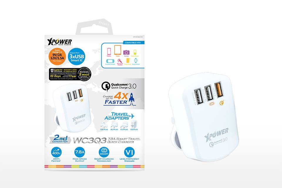 XPower WC3Q3 3 Port Qualcomm Quick Charge 3.0 Smart Travel Charger