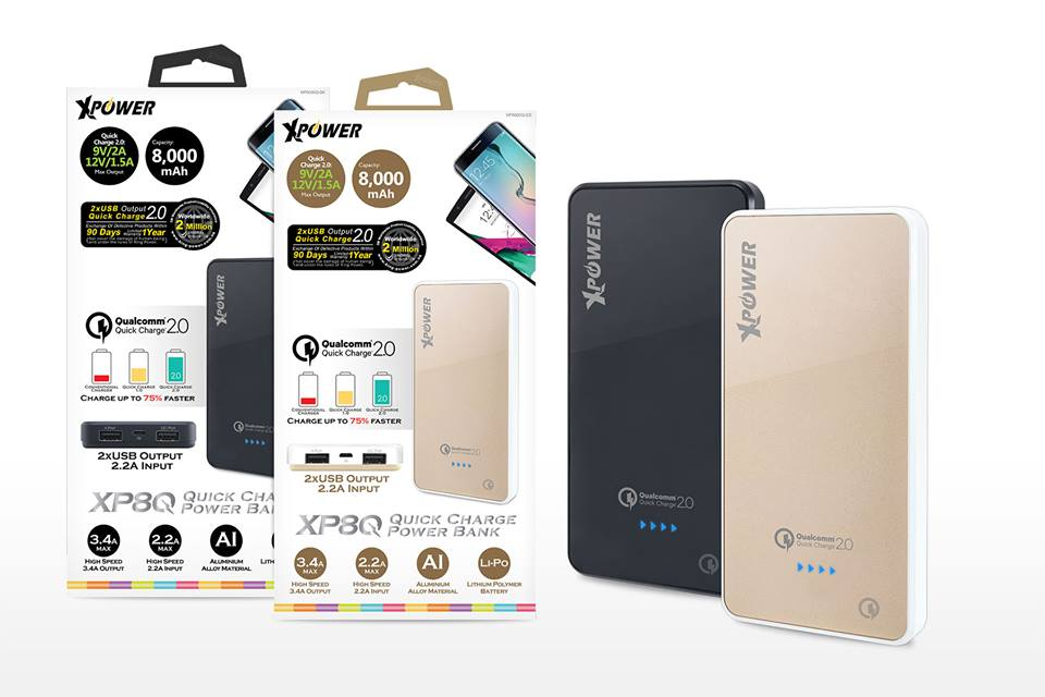 XPower XP8Q 8000mAh Qualcomm Quick Charge 2.0 Power Bank